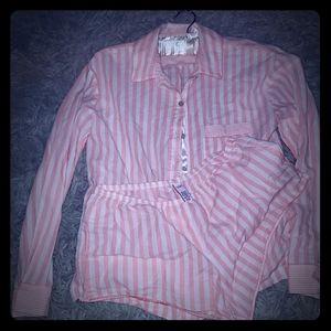Pink striped pajama set shorts